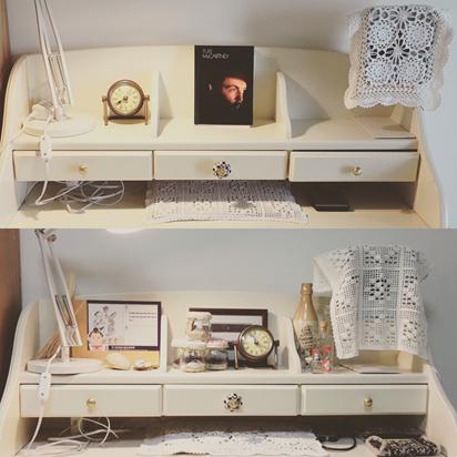写真は自宅机の写真。上が現在、下がその前です。置くものを絞ってすっきりさせました。